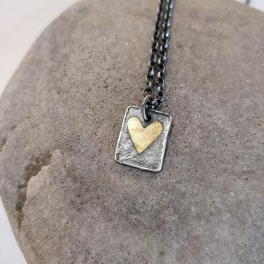 Double heart Tag necklace
