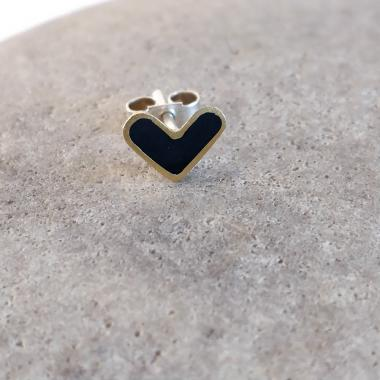 Earring stud - Black Heart