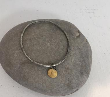 Gold Heart Disc Bangle