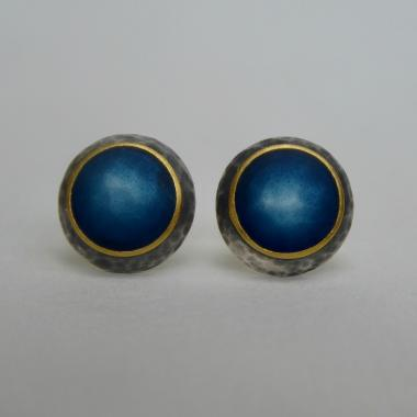 Earrings - Domed Midnight Blue Studs