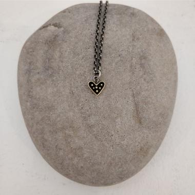 Black dot heart necklace
