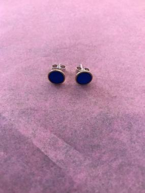 Earrings - Bright blue circle studs