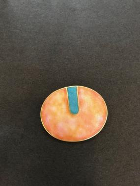 Brooch - Oval pink and mint.