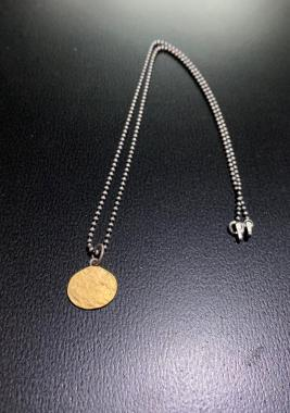 Gold Oval Pendent With Silver Chain