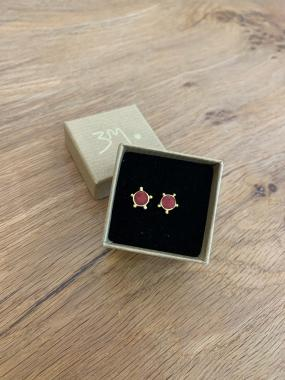 Trans Red Gold Dot Studs