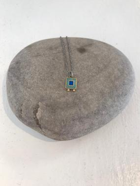 Tiny Pendant With Two Blue Squares