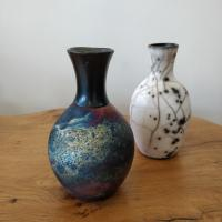 Copper Wash long necked vase  by Abi  Higgins