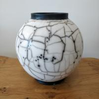Naked raku Large Moon Jar  by Abi  Higgins
