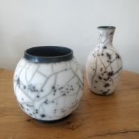 Naked raku small Moon Jar  by Abi  Higgins