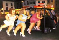 Girls in a Taxi by Beryl Cook