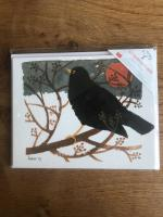 Blackbird in the Snow - Multipack of 15 Christmas cards by Canns Down Press