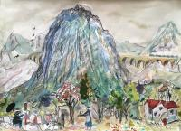 Cezanne Paints Mont Saint Victoire with Train  by Chris Orr MBE RA