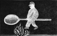 Riding Around on a Cooking Spoon by David Hockney