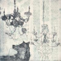Wolf and Chandelier (Teal) by Emma Molony