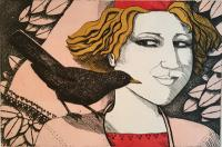 Girl with Blackbird by Frans Wesselman RE