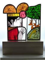 Queen counting her deer, stained glass by Frans Wesselman RE