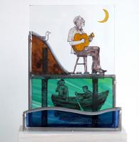 Singing the blues, stained glass by Frans Wesselman RE