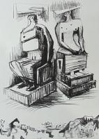 Two Seated Figures  by Henry Moore