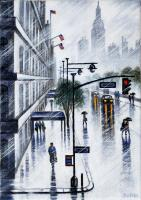 Fifth Avenue Rain by John  Duffin