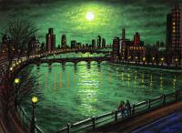 Thames Bridges by Moonlight 2 by John  Duffin