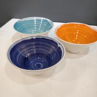 Rainbow Light Blue Bowl by Justine  Jenner