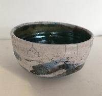 Large White Green Raku Bowl  by Peter Lee