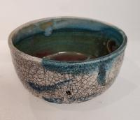 crackle Raku bowl by Peter Lee