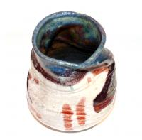 Blue Slumped White Crackle Pot by Peter Lee