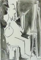 Painter at his Easel with Standing Nude  by Pablo Picasso
