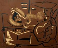 Reclining Woman and Guitar Playing Picador by Pablo Picasso