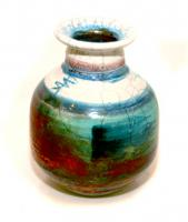 Copper and Turquoise Bottle by Peter Lee