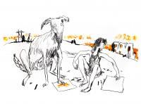 Girl With Dogs I by Sir Quentin Blake CBE RDI HRWS