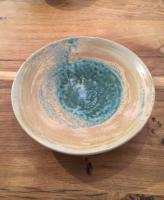 Medium Turquoise and Cream bowl by Sue Blagden