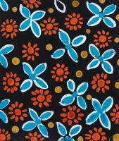Design 1263 - Red and Blue Flowers on Black by Sonia Delauney