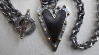 Large Black Studded Heart  by Zsuzsi Morrison