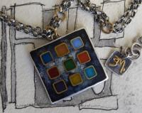 Square Pendant Double Chain  by Zsuzsi Morrison
