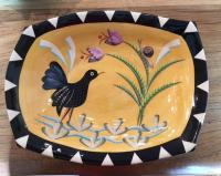 Black Stripy edge serving bowl with bird by Theresa  Edwards
