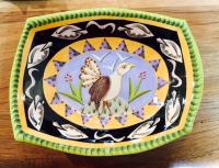 Bird dish with green border  by Theresa  Edwards