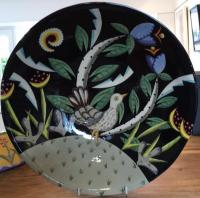 Round Bowl with a Bird on a hill by Theresa  Edwards