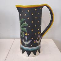 Black Starry Jug With Palm   by Theresa  Edwards
