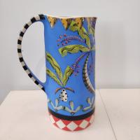 Blue Jug With Bird and Palms  by Theresa  Edwards