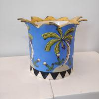 Large Blue Planter With Palms  by Theresa  Edwards
