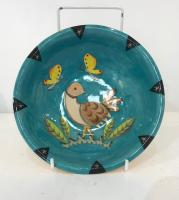 Small bird bowl with butterflies, blue by Theresa  Edwards