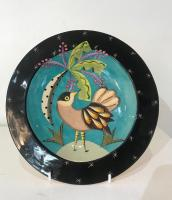 Small bird plate with a tree by Theresa  Edwards
