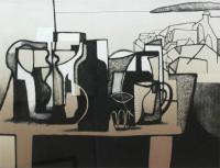 Bottles, Pots and the ocean I by Trevor Price RE