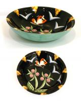 large Black flowered Bowl by Theresa  Edwards