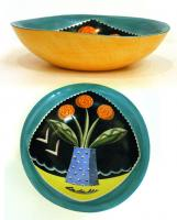 Green Flowered Bowl by Theresa  Edwards