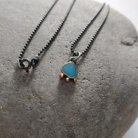 Turquoise and gold necklace  by Zsuzsi Morrison