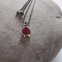 Red and gold necklace  by Zsuzsi Morrison