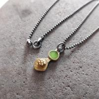 Lime green and gold necklace  by Zsuzsi Morrison